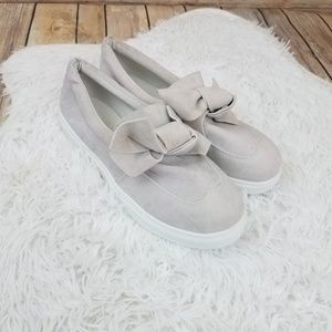 Shoes - Grey Bow Front Velvet Look Slip on Casual Shoes
